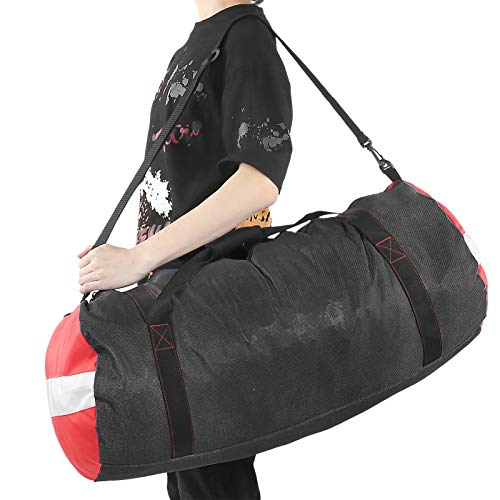 Bolsa de hombro de malla para almacenamiento de buceo, bolsa de lona de malla plegable, zapatillas para guardar ropa mojada, hecha de tela Oxford de PVC, equipo de equipaje de viaje para buceo(negro)