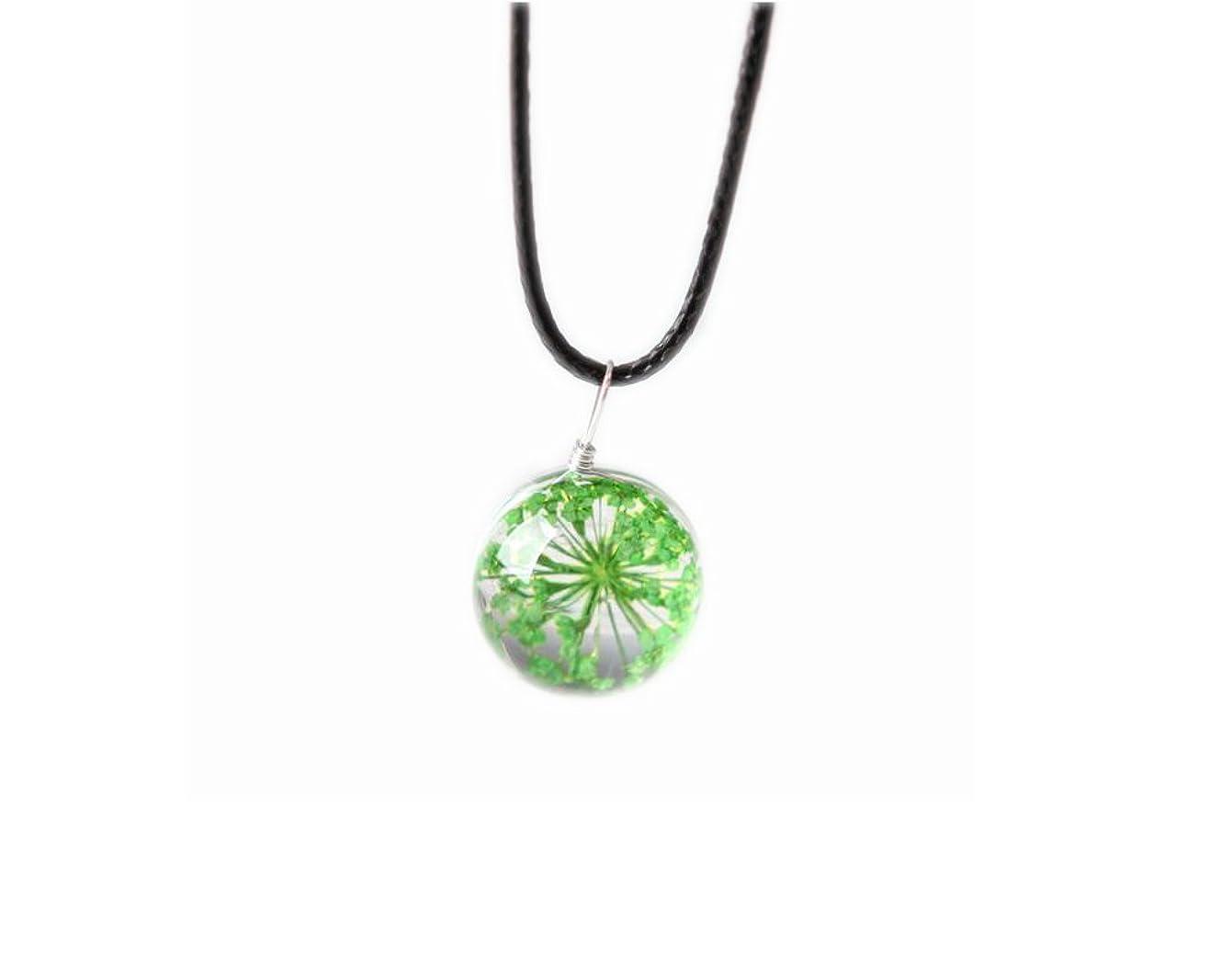 報奨金リーフレット磁気4本のペンダントネックレスギフトのセットGypsophila Dried Flowers Necklace - Green