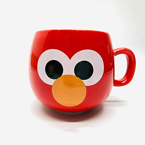LongBin Nuevas Tazas De Café De Barrio Sésamo Tazas Y Tazas De Té Dibujos Animados Creativos Marca De Expresión Linda Vasos De Gran Capacidad Red_201-300Ml