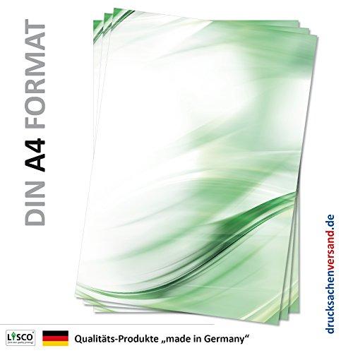 Motivpapier Briefpapier (Muster-5083, DIN A4 25 Blatt) modern geschwungenes Papier Kurven abstrakt grün Hintergrund Kunst