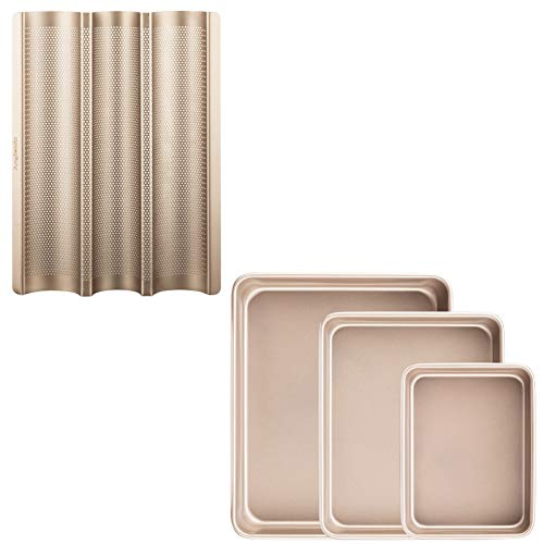 Angiemic Nonstick Set of three Pieces 9/11/13 Inch Baking Pans Cookie Sheets + 15″x11″ Baguette Pan
