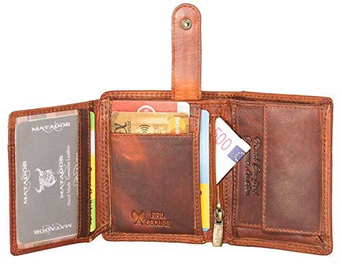 MATADOR Herren Geldbörse Klein RFID/NFC Schutz Portemonnaie Slim Wallet Brieftasche Leder Vintage Braun