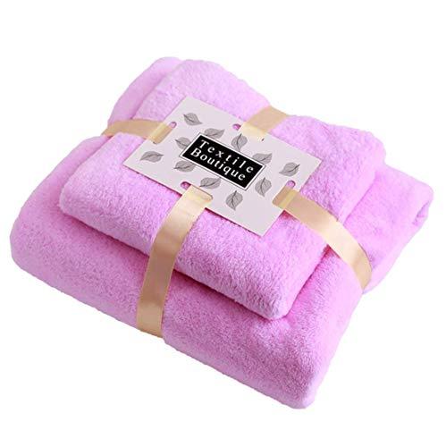 Jingge Toallas de Lana de Coral, 2 Toallas de baño, Textiles para el hogar, pacas, 1 toallita Facial, 1 Toalla de baño, Ultra Suave y Altamente Absorbente (Rosa)