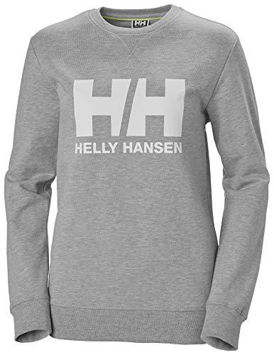 Helly Hansen W Hh Logo Crew Sweat Sudadera Con Gorro, Mujer, Grey Melange, S
