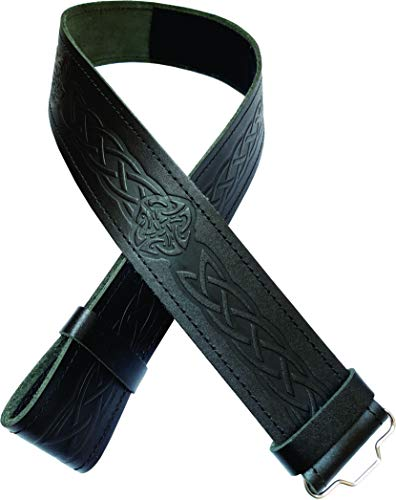 Ever Bright Mens Kilt Belt Celtic Knot Embossed Black Leather Kilt Belt (Celtic Knot Embossed Black, L 40' to 46')