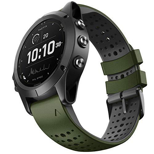 NotoCity Correa Compatible con Garmin Fenix 5/Fenix 6 Pro/Fenix 5 Plus/Fenix 6/Forerunner 945/Forerunner 935/Approach S60/Quatix 5 Correa de Silicona de 22 mm(Army Green-Black)