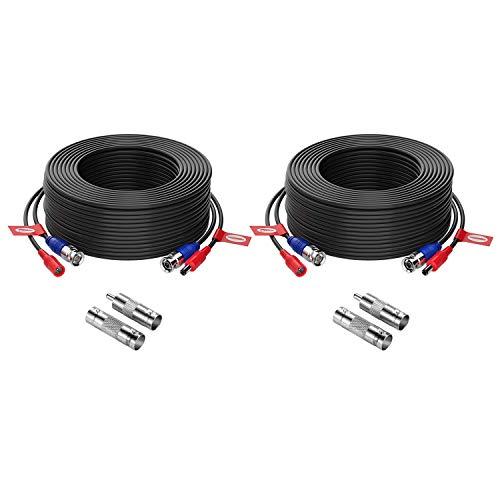 ZOSI Paquete 2pcs Cable 20m de BNC Video Fuente de Alimentación para Kit CCTV Cámara de Vigilancia DVR Sistema Seguridad Hogar (2 Pack Negro)