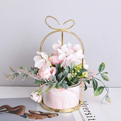 Ksnrang Casa nórdica Flores secas Flores Falsas Flor de simulación Flor Sala de Estar Adornos Ornamentos bouequetes Comedor Mesa de Mesa Floral Muebles de Piso Floral-Mármol Alice - Rosa