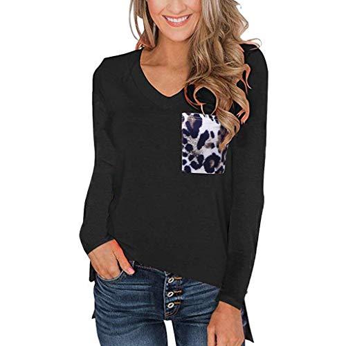 Bluse Damen V Ausschnitt Leopard Oberteile Frauen Sexy Tops Herbst Elegant Bluseshirt T-Shirt mit Langen Ärmel Langarmshirt Sweatshirt Baggy Jumper Pullover mit Taschen
