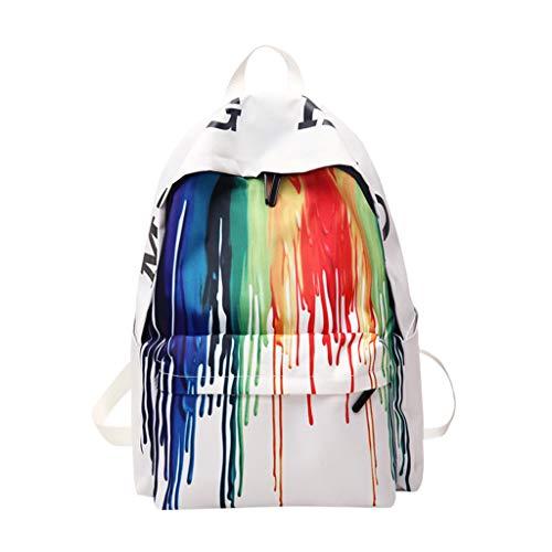 Calvinbi Damen Canvas Rucksack mit Farbstreifen Regenbogen Mode Chic Schultasche Reisetasche Daypacks Backpacks Gepäcktasche Big Bag Sporttasche Freizeittasche