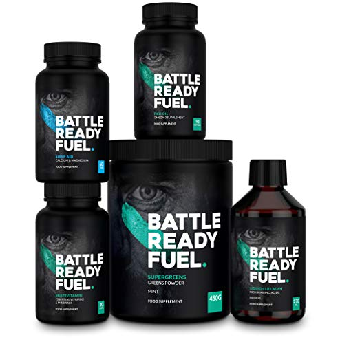 Battle Ready Fuel Ultimate Health Bundle — Nutritional Supplement Combo Pack with Liquid Collagen, Super Greens, Sleep Aid, Multivitamin & Fish Oil