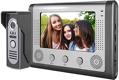 ZJDM Sistema de videoportero de 7', TFT LCD Diaplay Video Doorbell, Videoportero con Cable Cámara de teléfono Sistema de Seguridad para el hogar Intercomunicador Intercomunicador de Dos vías, Vi
