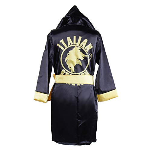 Children Costume Classic Movie Clothes Apollo American Flag Boxing Robe Hooded Shorts Kids Italian Stallion Suits (Black, M)
