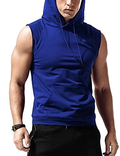 Babioboa Men's Sleeveless Hoodie Bodybuilding Tank Tops Gym Sleeveless Shirt Muscle Workout Shirt Blue