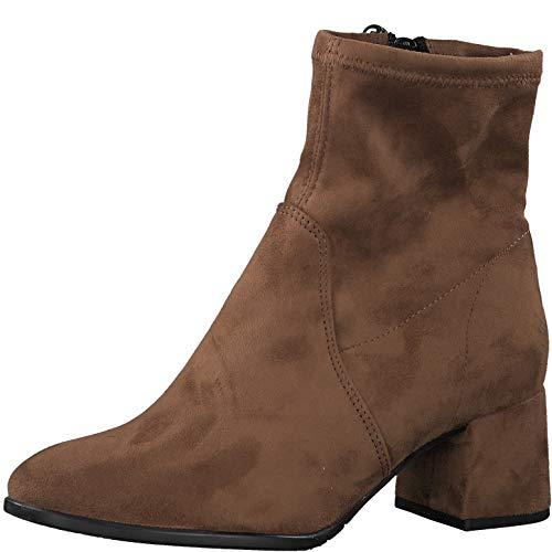 Tamaris Damen Stiefeletten, Frauen Klassische Stiefelette, Stiefel Boot halbstiefel Bootie reißverschluss weiblich Lady Ladies,Cognac,38 EU / 5 UK
