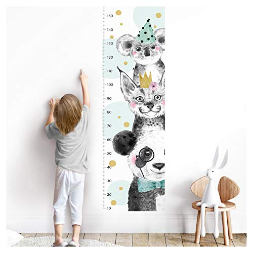 Little Deco Wandaufkleber Kinderzimmer Junge Messlatte | 150cm Panda Luchs Koala Türkis | Tiere Wandtattoo Kinder Wandsticker Aufkleber Dekoration DL349