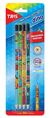 Lapis Preto Collection Dino com Borracha Cartela 4 Unidades