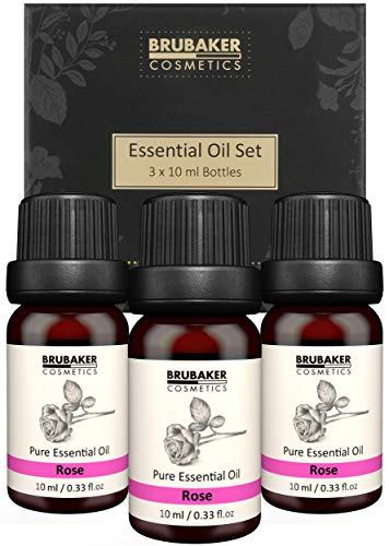 BRUBAKER Cosmetics Set di 3 Oli di Rosa - Femminilità, Sensualità - Oli Essenziali Aromaterapia Set Regalo 3 X 10 ML di Olio di Rosa Naturale & Vegano