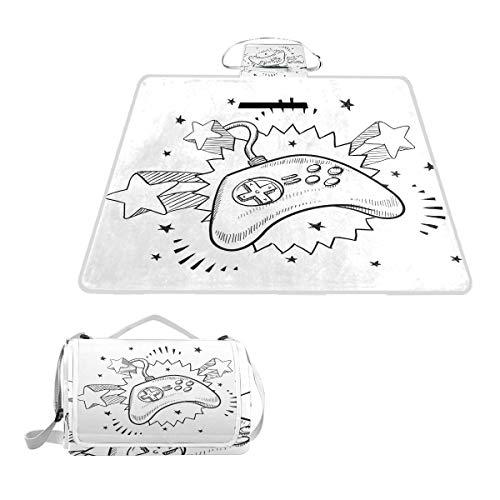 XINGAKA Couverture de Pique-Nique,Seventies Pop Inspired Retro Composition Doodle Video Game Controller,Tapis Idéale pour Plage Jardin Parc Camping