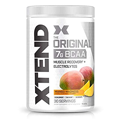 XTEND Original BCAA Powder Mango Madness   Sugar Free Post Workout Muscle Recovery Drink with Amino Acids   7g BCAAs for Men & Women  30 Servings