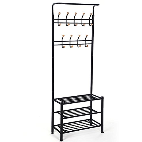 SONGMICS Coat Stand with 3 Shoe Racks with 18 Hooks Tube Diameter 32 mm, Metal, Black, 68.8 x 35.2 x 187 cm