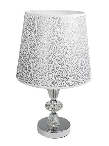 Vetrineinrete Lume moderno da comodino abat jour lampada da tavolo in acciaio cromato e paralume decorato glitter argento D19-A P93