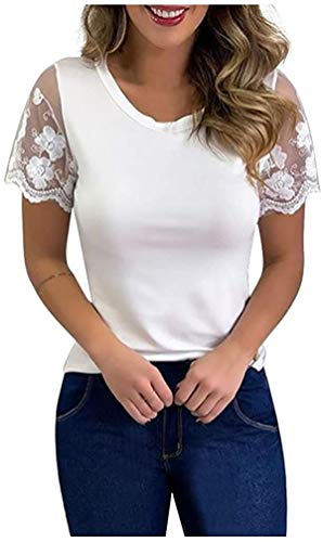 Marshall Darren Womens Casual Tops Blouse Solid Lace Stitching Puff Short...