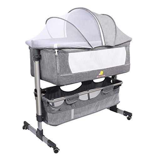 Folding Baby Bedside Sleeper, Hicrifth Portable Travel Baby Crib with Breathable Mesh Window and 4 Adjustable Height for Infant/Newborn(Dark Gray)