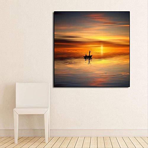 Zonsondergang zeegezicht schilderij moderne foto kunst aan de muur poster en grafiek schilderij grafische huisdecoratie woonkamer 50x50cm geen frame