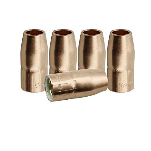 "WeldingCity 5 Gas Nozzles 169-715 169715 1/2"" for Miller and Hobart MIG Welding Guns"