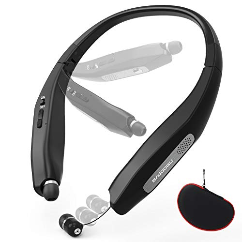 BRDOOGU Wireless Stereo Bluetooth Headphones, Bluetooth 5.0 Retractable Earbuds Neckband Foldable Headset, 36 Hour Playtime,CVC6.0 Noise Cancelling Mic