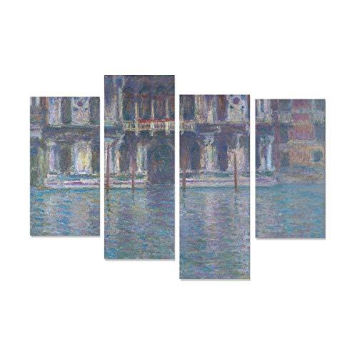 WDDHOME 4 Stücke Leinwand Wandkunst Für Bad Monet Wasser Stadt Gebäude Venedig Palazzo Da Mula Druck Bilder Auf Leinwand Kein Rahmen Wohnzimmer Büro Hotel Wohnkultur Geschenk