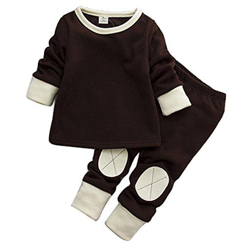 Juego de pijama de invierno para bebés/niñas de forro polar de manga larga, ropa interior térmica, juego de chándal informal. café Talla:12 meses