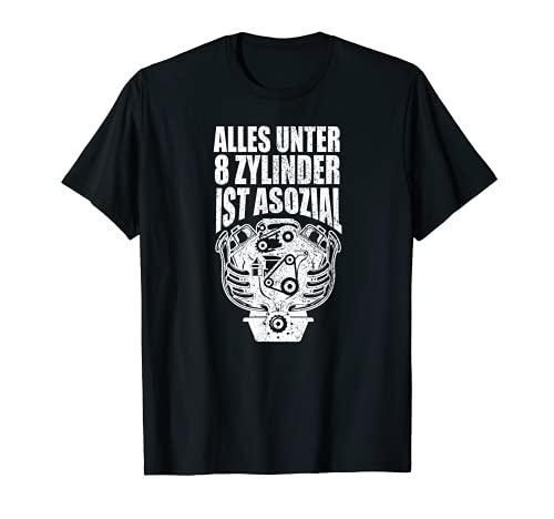 Todo debajo de 8 cilindros es asocial. Divertida cilindrada V8. Camiseta