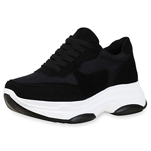 SCARPE VITA Damen Plateau Sneaker Chunky Turnschuhe Schnürer Freizeit Schuhe Plateauschuhe 181247 Schwarz 39