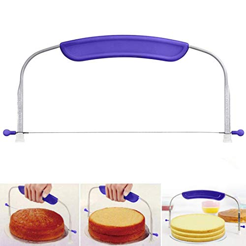 10 In Adjustable Cake Cutter Wire Cake Leveler Stainless Steel Cake Slicer with Purple Handle for Professional Baking