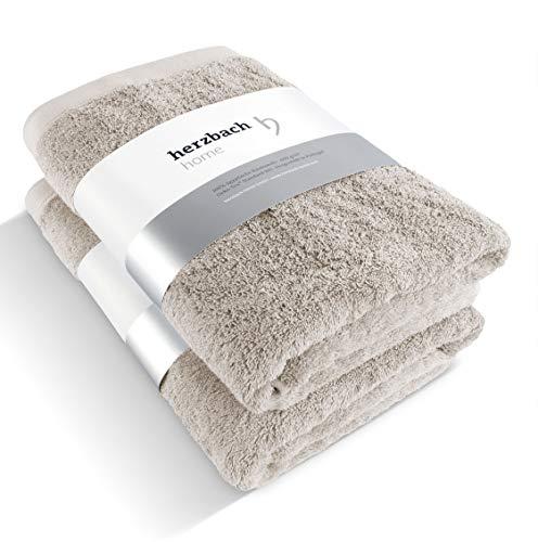 herzbach home Premium Handtuch Duschtuch 2er-Set Premium Qualität aus 100{9e82d29254dfd45973fdfa1677b063f0457668d00e162c6fa519a7cfedfe4715} ägyptischer Baumwolle 70 x 140 cm 600 g/m² (sandgrau)