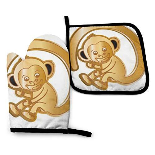BONRI Lindo Mokey Manoplas de horno y soportes para ollas Juegos de guantes de horno y agarraderas con guantes de cocina antideslizantes de poliéster reciclable para cocinar y asar