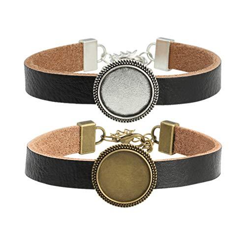 Milisten 2 Stücke Armband Lünette Einstellungen Runde Lünette Fach Leder Metall Leer Armreifen Armbänder für DIY Schmuck Machen