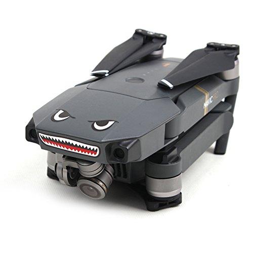 O'woda 2 Sätze Drone Körperhaut Kühles Haifisch-Gesicht 3M Aufkleber Aufkleber mit Batterie Nummer Aufkleber für DJI Mavic PRO Spark / Mavic 2
