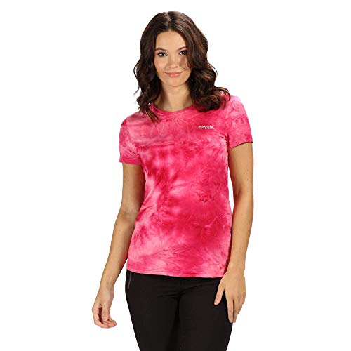 Regatta Damen-T-Shirt Fingal Iv, schnelltrocknend, UV-Schutz, langärmelig 3XL Neon Pink Batik