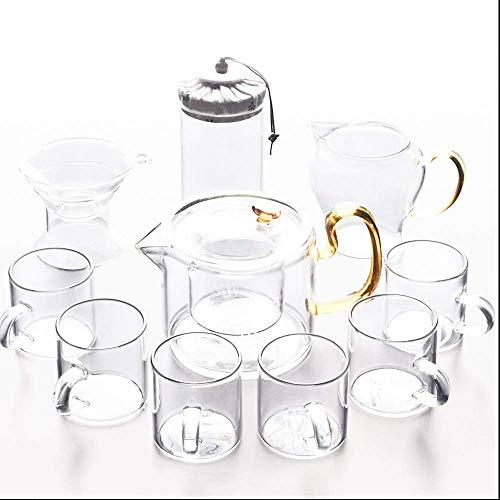 HyiFMY Tazas de café, tazas de té, juegos de té para té de la tarde con tetera, juego de té transparente, resistente al calor, 6 tazas de té de cristal, colador de hojas sueltas, 10 unidades
