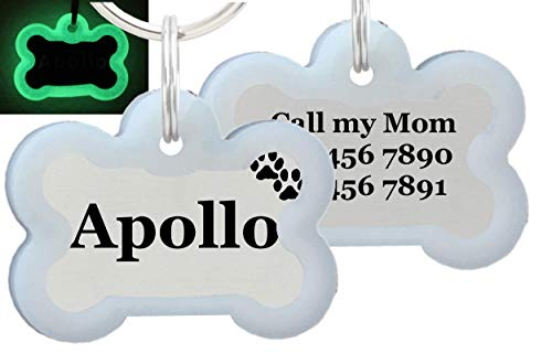 io tags Double Sided Laser Etched Stainless Steel Pet ID Tag for Dog Engraved and Personalized Bone Shape (Paws with Silencer)