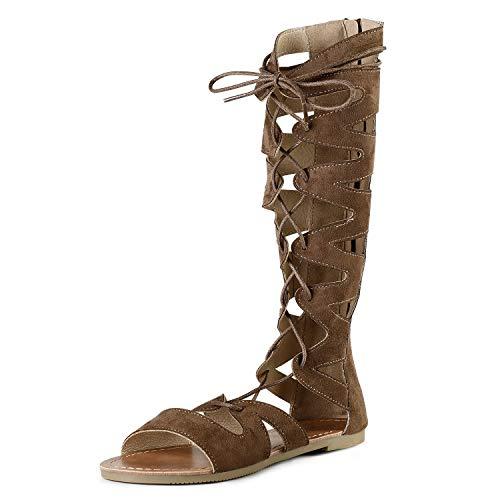 SANDALUP Gladiator Sandals Knee High Flat Sandals Roman Shoes with Open Toe Design for Women Brown-Suede 05