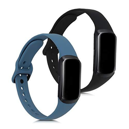 kwmobile 2X Brazalete Compatible con Samsung Galaxy Fit (SM-R370) - Pulsera de Silicona Antracita/Negro sin Fitness Tracker