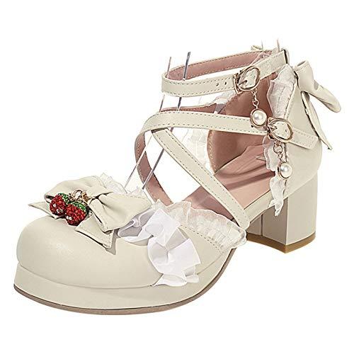 FitWee Mujer Tacón Ancho PlataParama Sandalias Con Lazos Correa de Tobillo Lolita Zapatos Con Volante fruncido Escuela Alumna Zapatos Beige Numero 48 Asiática