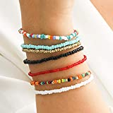 Sethain Boho Layered Beads Bracelet Colorful Hand Chain Multilayered Chains Jewelry for Women and Girls