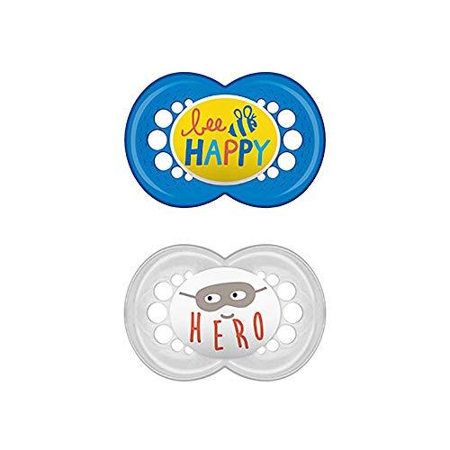MAM Chupete Original S221 - Chupete con Tetina de Látex, para Bebés de 16+ meses, Azul (2 unidades), con caja auto Esterilizadora, Versión Española