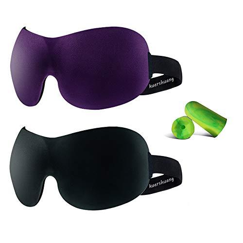 Kuershuang 3D Sleep Mask 2 Pack,Soft Eye Mask for Sleeping Dry Eyes Yoga Travel Sleep Aid,Best Eye Mask for Sleeping Men & Women,Gifts for Men Friends,Black/Purple