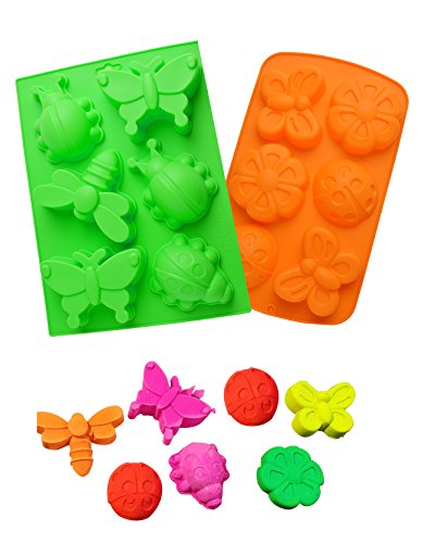 Insect Butterfly Soap Mold for Kids, HapWay 2 Pcs 6 Cavity Silicone Assorted DIY Handmade Molds Cake Baking Muffine Moulds